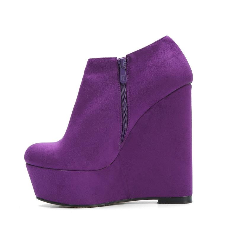 Kcenid รอบ toe รองเท้าส้นสูง wedges รองเท้าสั้น 2019 new arrivals women plus ขนาดข้อเท้ารองเท้าสไตล์รองเท้าผู้หญิงสีม่วง-ใน รองเท้าบูทหุ้มข้อ จาก รองเท้า บน   2