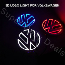 NEW VW Led Emblem Badge Sticker Lamp for Volkswagen GOLF/MAGOTAN/CC/TIGUAN/BORA/SCIROCCO Red Blue White 5d led logo light