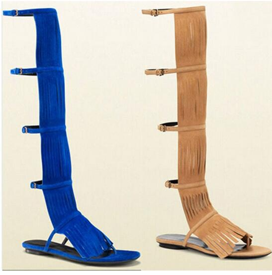 2017 Summer Unique Design Suede Fringed Knee High Sandal Boots Woman Cut-Out Ankle Buckle Personalized Fashion Sandals Free Ship корм вака люкс для средних попугаев 900 гр
