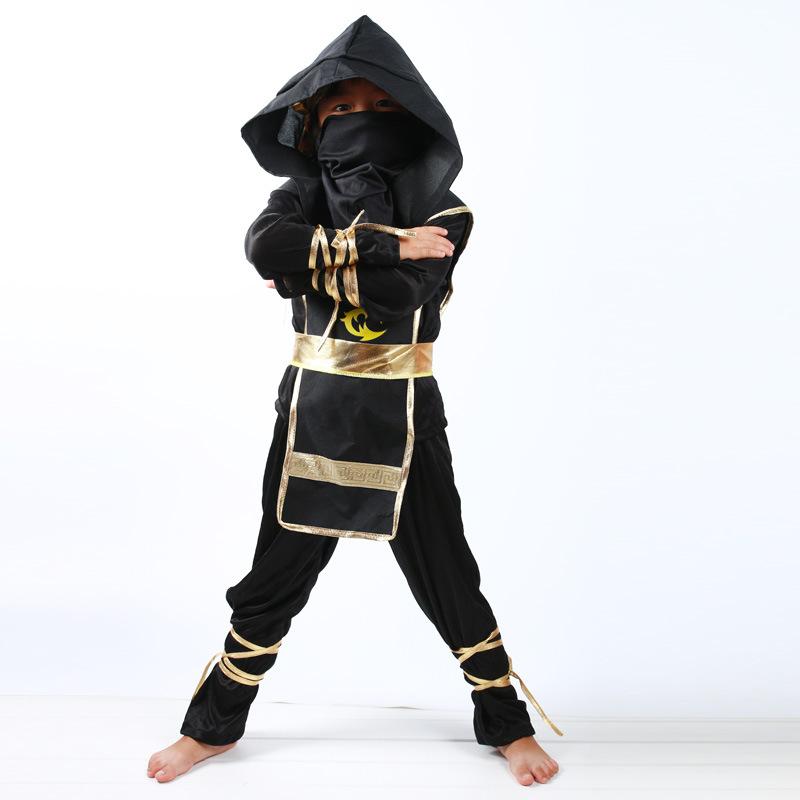 черный ниндзя косплей костюм полный одежды для мальчиков дети костюмы хэллоуин новогодние товары фантазии праздничная одежда ниндзя супергерой костюмы