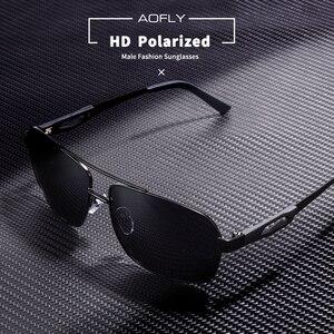 Image 2 - AOFLY marka tasarım erkekler polarize güneş gözlüğü Metal kare güneş gözlüğü sürüş gözlükleri tonları erkekler óculos masculino erkek AF8185