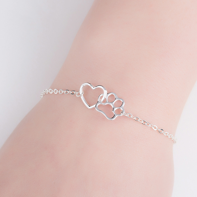 Gift For Her-Cute Cat Paw Print Silver Gold Color Charm Bracelets