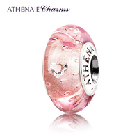 ATHENAIE Genuine Murano Glass 925 Silver Core Effervescence Clear Heart CZ Charms Bead Fit All European