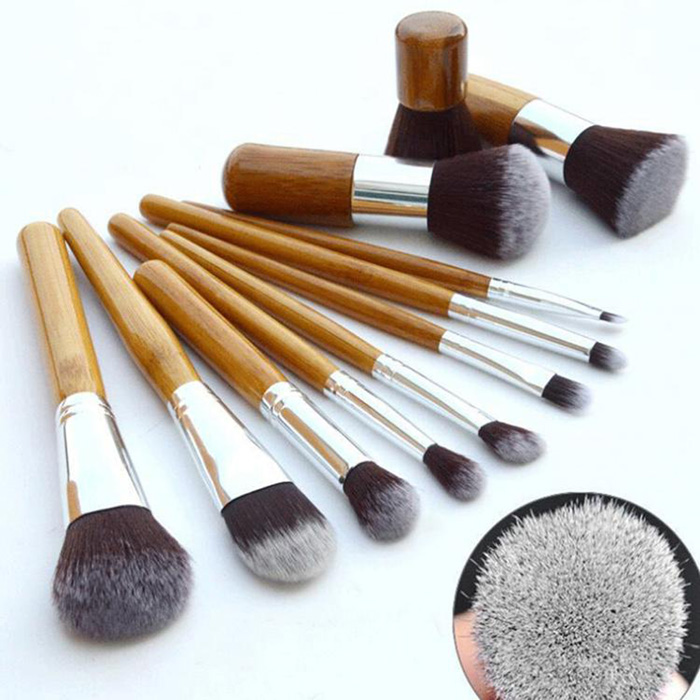 11pcs/set Pro Makeup Brushes Set Foundation Blending Powder Eyeshadow Contour Concealer Blush Eyebrow Brush Bamboo Handle pro 15pcs tz makeup brushes set powder foundation blush eyeshadow eyebrow face brush pincel maquiagem cosmetics kits with bag