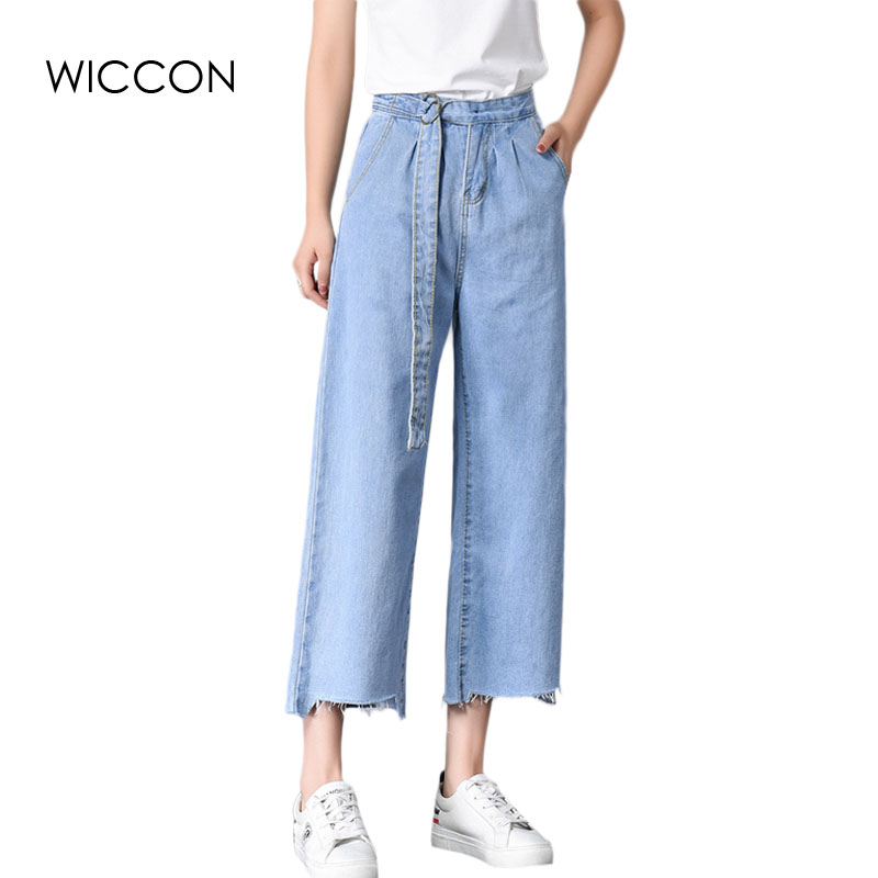 Jeans Woman 2017 Fashion Sexy Straight Denim Pants New Summer Mid Waist Loose Casual Ankle-Length Trousers Women WICCON new summer vintage women ripped hole jeans high waist floral embroidery loose fashion ankle length women denim jeans harem pants