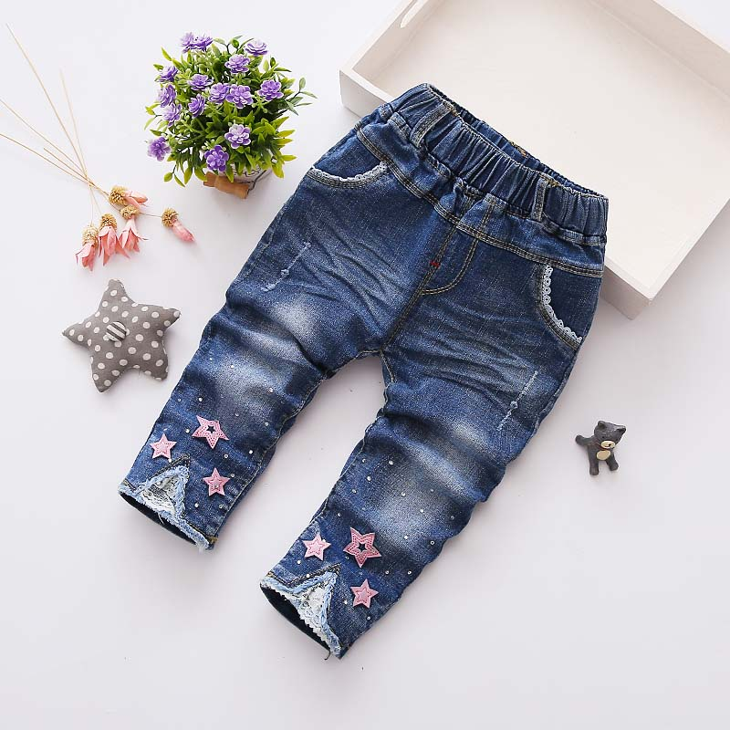 Autumn Spring Baby Girls Vintage Denim Jeans Sweet 5 Pointed Star Kids Pants Full Length Trousers roupas de bebe