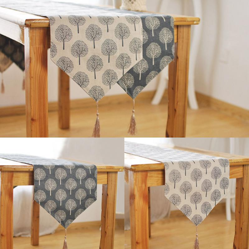 Image 4 - 33cm*160/180/200/220/240cm 5Size Table runner Modern Tree pattern Chirstmas party wedding Decor crafts Linen cotton Table Runner-in Table Runners from Home & Garden