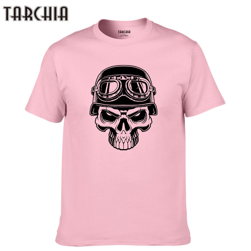 TARCHIA 2019 Tees Tops Casual T Shirt Men new biker skull isolated Cotton Slim Fit T shirt Homme sleeve Top Spring Print Men