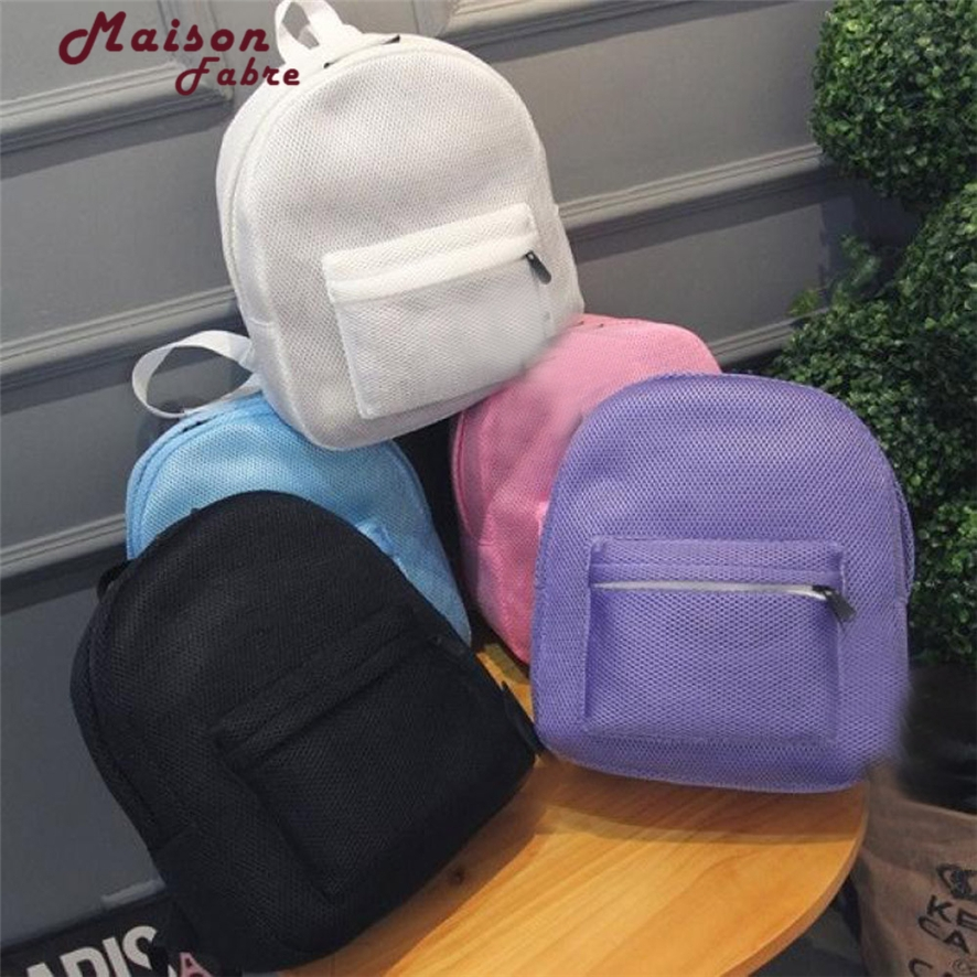 Summer Bag Fashion 2016 Women Net Yarn Grid Breathable Mesh Backpack Ultra-thin School Bag for Teenagers Students 1011#23