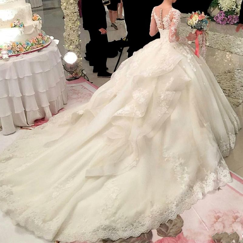 Hot Sale Dubai Crystal Flowers Ball Gown Wedding Dresses 2017 New Long Sleeve Muslim Lace Appliques Wedding Gowns Bridal Dress in Wedding Dresses from Weddings Events