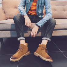 Купить с кэшбэком Martin Boots Casual Leather Shoes Winter Loafers Keep Warm Fashion Sneakers Footwear Quality Leather High Top Plush Men Shoes