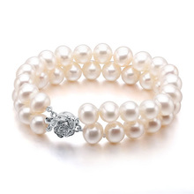 Women Gift word 925 Sterling silver real Love the vermilion freshwater pearl bracelet two double layer genuine nearly flaw