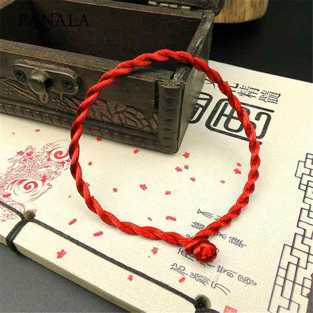 文字列ストランドラッキー固体ユニセックスファッション掛け金赤ブレスレットロープ編組