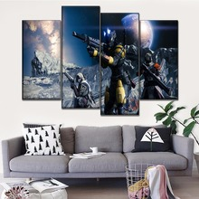 Wall Art Canvas Painting Game Poster 4 Panel  Modern Living Room Or Bedroom Home Decorative Destiny Modular Picture Print Type