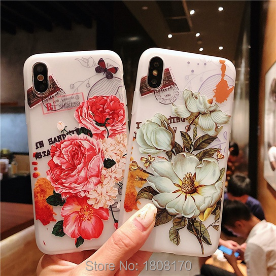 C-Ku Flower Floral Peony TPU Soft Case For Iphone X 8 7 6 6S Plus Lemon Dinosaur Animal Cute Cell Phone Coque Skin Cover 1pcs
