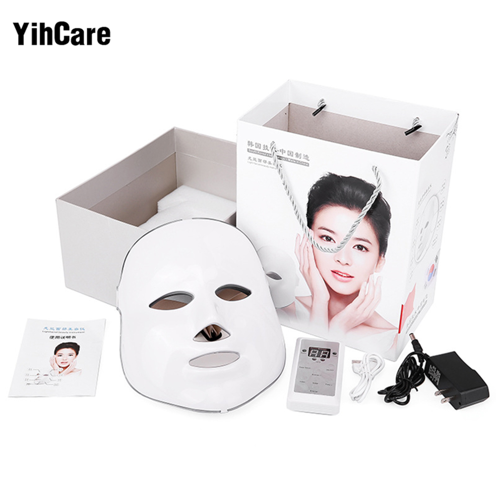 YihCare Photon LED Mask Whitening Anti Aging Skin Care Facial Mask 7 Colors Light Wrinkle Removal Led Face Mask Beauty Machine 1 set professional face care diy homemade fruit vegetable crystal collagen powder facial mask maker machine skin whitening