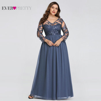 Plus Size Mother Of The Bride Dress Ever Pretty EZ07633 Elegant A-line Lace Appliques Long Party Gowns 2020 Vestido De Madrinha 2