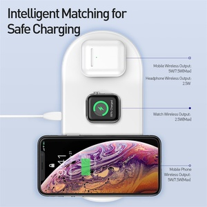 Image 4 - Baseus 3 in 1 Qi Wireless Charger For Apple Watch for iPhone XS X Samsung S10 10W 3.0 Fast Charging For i Watch and Headphone