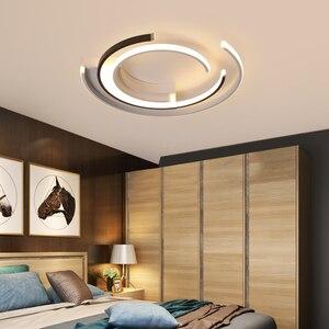 Image 5 - Lustre de plafond plafonnier moderne Modern LED Luzes de Teto sala de estar Quarto luminária Branco Preto LEVOU Rodada Lâmpada Do Teto