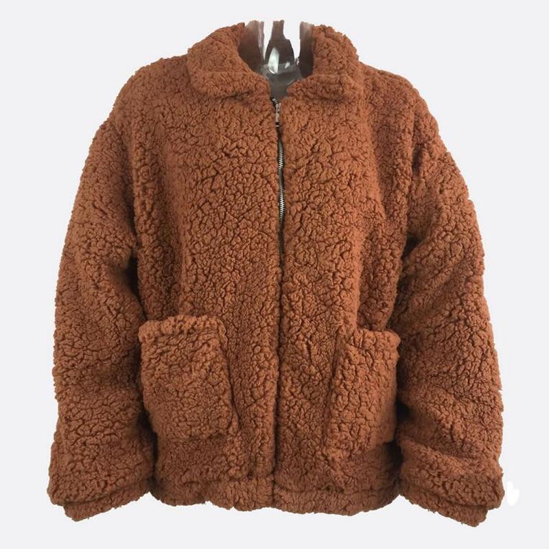 Et Bf Manches Femelle Black Mode camel Peluche dark Longues Fourrure Nouveau Automne En Poche Femmes Vent Col D'hiver Lâche 2018 Imitation De À Green Manteau Casual brown w51q06x