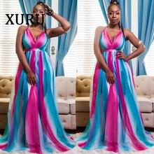 XURU summer new bohemian chiffon long dress sexy sling V-neck backless gradient loose