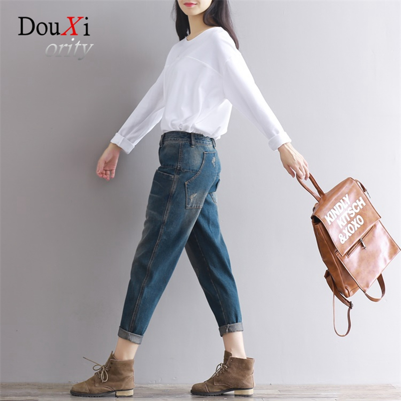 Douxiority Women Jeans 2017 Pleated Scratched Denim Loose Pants Jeans Female Vintage Harem Jeans for Women Ankle-length Trousers 2017 fashion summer women washed jeans scratched loose pants female vintage boyfriend harem denim pencil trousers ankle length