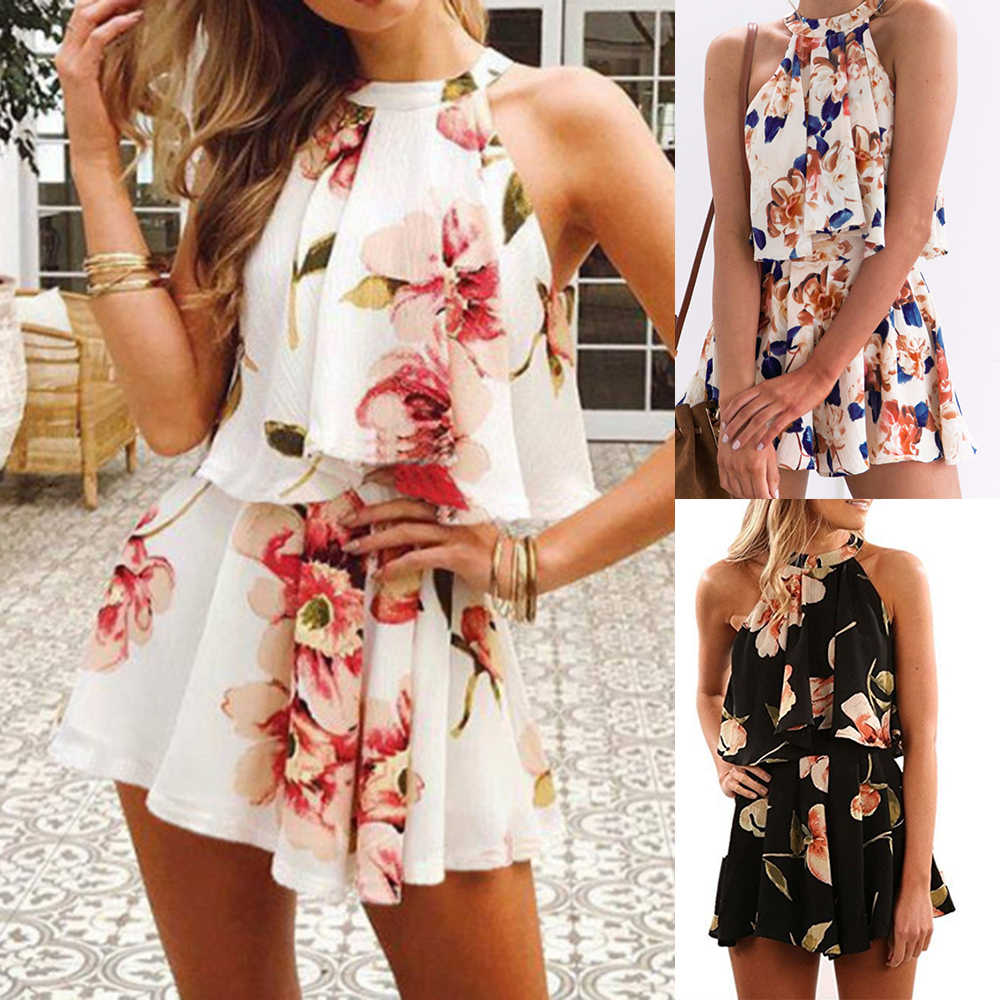 2019 Summer Women Ladies Sexy Floral Printed Set 2pcs Sleeveless Halter Ruffle Tops and Loose Shorts Set Women Flower Print Suit