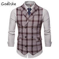 GODLIKE Fall 2019 new men's fashion business leisure double breasted green fruit collar vest/ vest men suit