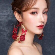 Южная Корея подчеркивающие индивидуальность большие тонкие серьги Мори цветок свадебные жемчужные серьги аксессуары для волос