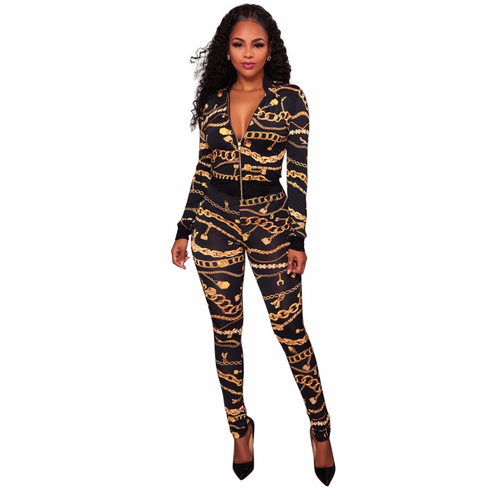 Rompers Sexy Womens Jumpsuit Two Piece 2018 New Arrivals Print Skinny Deep V Neck Long Sleeve Maxi Romper Bodycon Jumpsuit ...