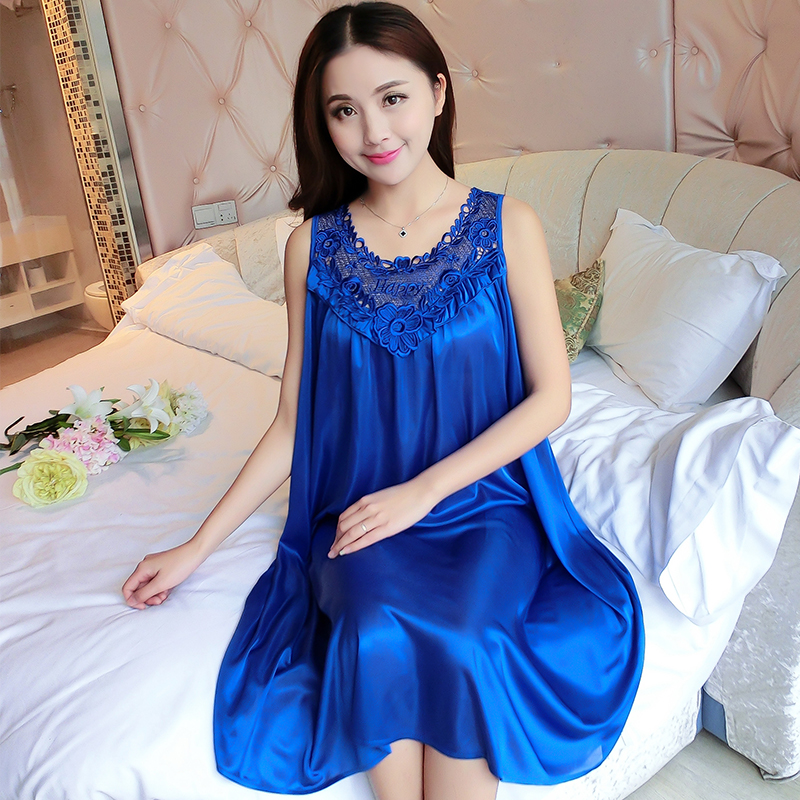Ladies Silk Sleepwear Summer   Nightgown   Sexy Lingerie Pink Nightdress for Women Satin Sleep Shirts Chemise Night Dress