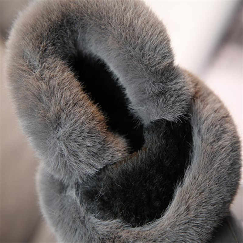 2018 Winter Nieuwe Rubber antislip Meisje laarzen pluche bont kinderen prinses laarzen konijnenbont plus fluwelen katoen laarzen kwastje schoenen