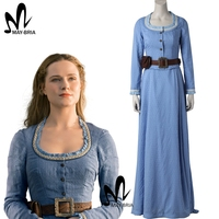Новое поступление платье Dolores Abernathy westworld Косплей Костюм для взрослых женщин Необычные платья для косплея Dolores Abernathy костюм