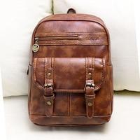 Backpack Retro College Wind Shoulder Bag PU Leather Zipper Bag Student Backpack