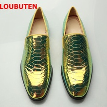 LOUBUTEN Bright Snakeskin Pattern Leather Men Loafers New Fashion Slip On Mens Party And Wedding Shoes Plus Size Dress