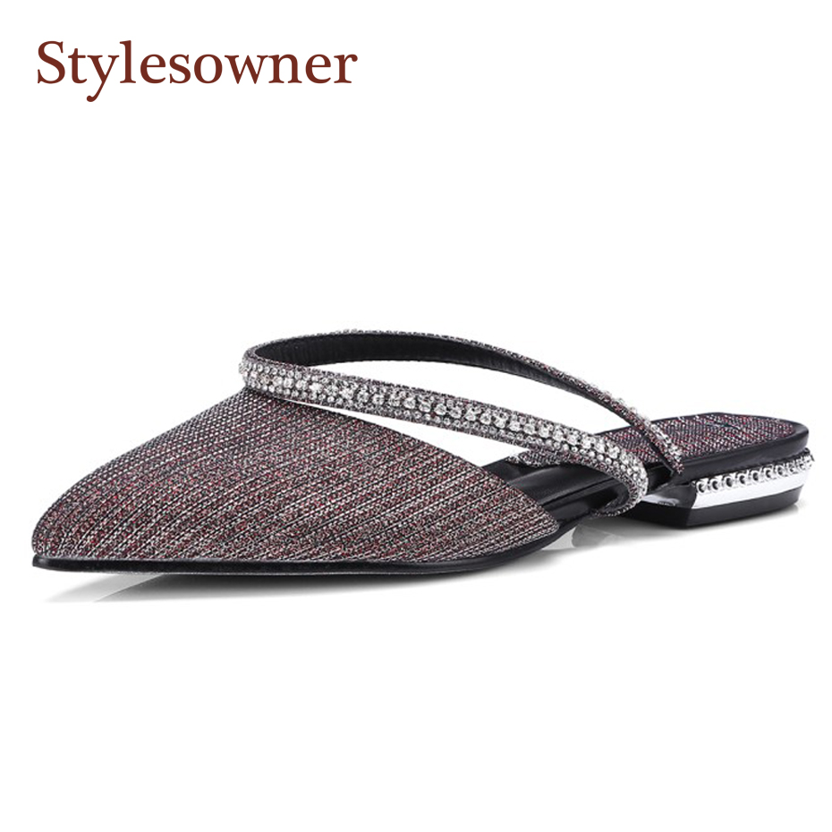 Stylesowner spring summer new women pointed toe slingback shoe crystal belt slip on low heel mules shoes fashion outside slipper new 2017 spring summer women shoes pointed toe high quality brand fashion womens flats ladies plus size 41 sweet flock t179