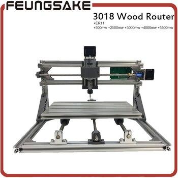 Máquina de tallado de enrutador cnc 3018, mini máquina de bricolaje de 3 ejes, fresadora de Pvc Pcb, máquina de grabado de madera, control GRBL + láser de 5500 MW