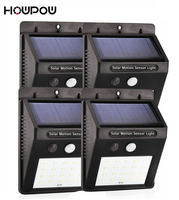 HOWPOW Waterproof 20LED 4Pcs Solar Light Solar Power PIR Motion Sensor LED Garden Light Outdoor Pathway Sense Solar Lamp Wall