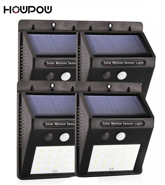 HOWPOW Waterproof 20LED 4Pcs Solar Light Solar Power PIR Motion Sensor LED Garden Light Outdoor Pathway Sense Solar Lamp Wall