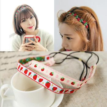 Handmade Flower Floral Headband Cute Cotton And Linen Embroidery Strawberry Hair Band Headwear Women'S
