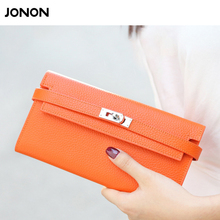 Jonon Brand Designer genuine leather women organizer Wallets And Purses Ladies' Lock Long Wallet For Women Lock Day Clutch Bags
