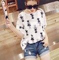 Женщины летом стиль моды футболка catoon кот ситца футболка женщины топ мода коротким рукавом женщины топы