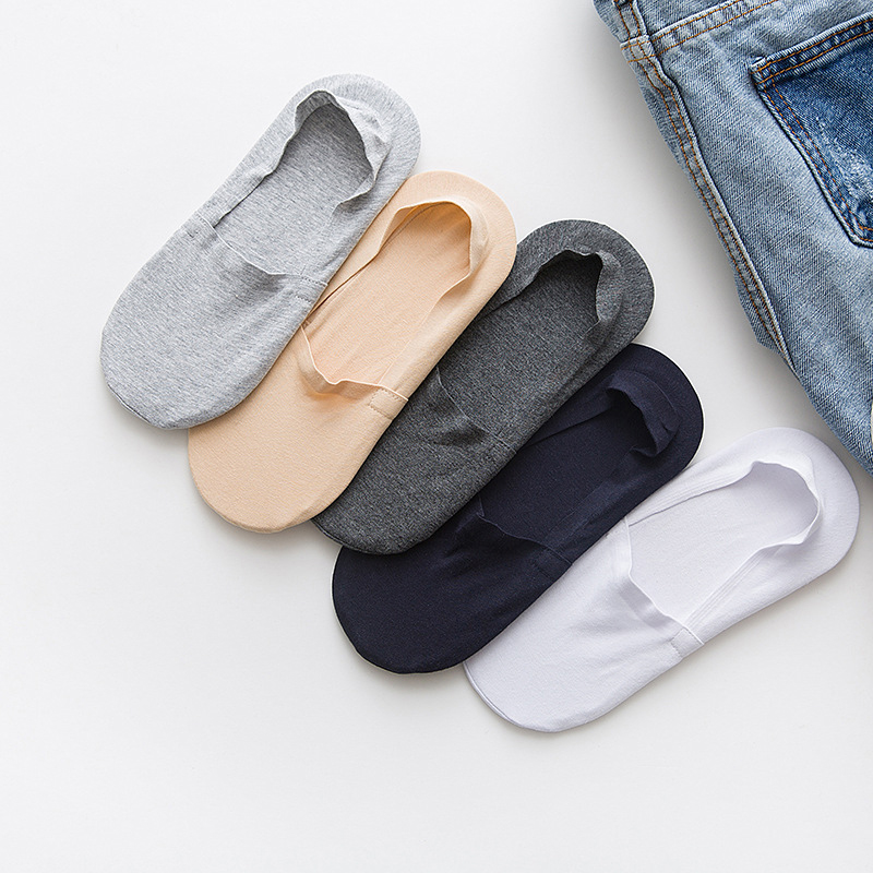 1 Pair Women Men Soft Invisible Socks Low Cut Casual Cotton Loafer Boat Non-Slip Invisible Spring Autumn No Show Socks 6A0921