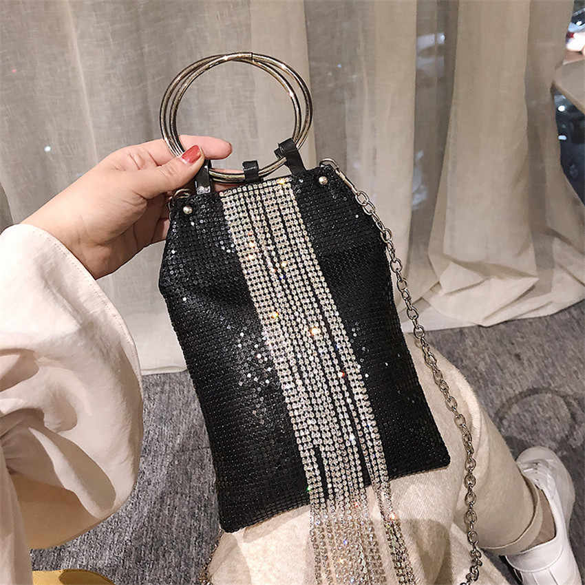 Toyooosky/модные вечерние сумки с кисточками и кольцами, женские сумки с блестками и бриллиантами, Свадебная вечеринка, сумка-мессенджер, кошелек-клатч