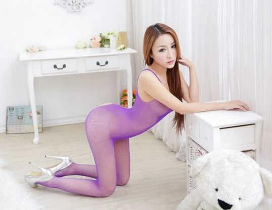 Donne Sexy Scavato Biforcazione Aperta Crotchless Bodystocking Calze Collant Lingerie Da Notte Della Tuta Outfit QF175-1