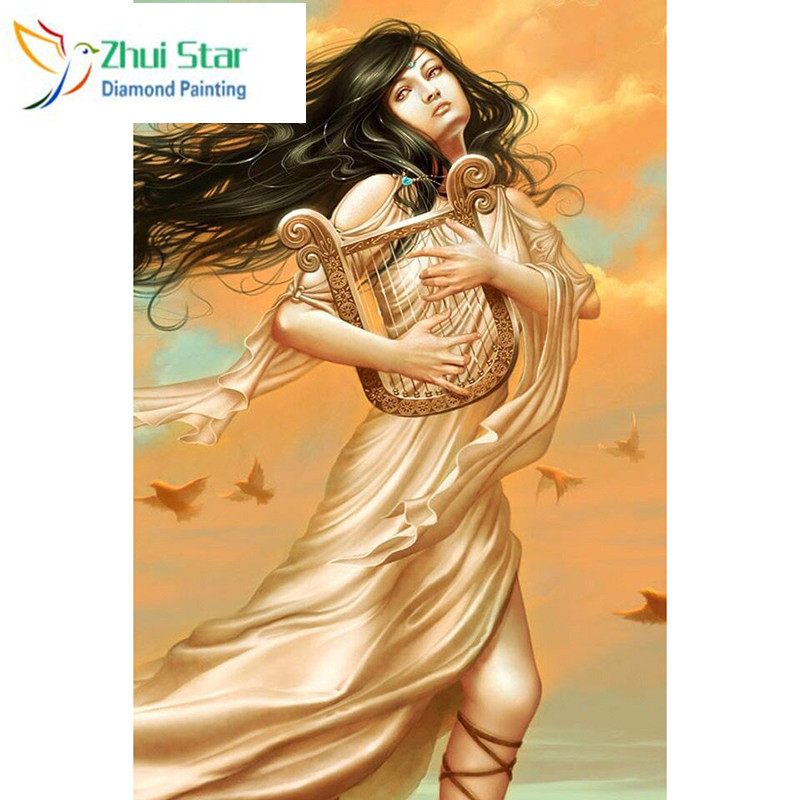 Zhui star 5d diy Diamond embroidery women with harp diamond painting Cross Stitch full square drill Rhinestone mosaic home