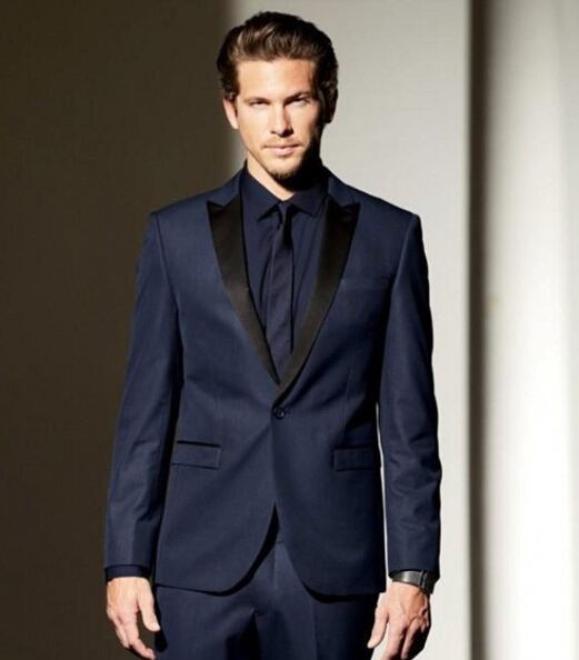 Custom Made Groomsmen Peak Black Lapel Groom Tuxedos Navy Blue ...