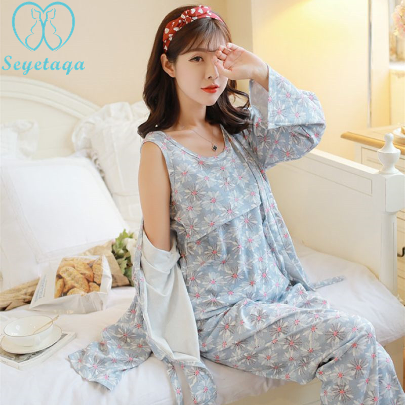 1276# Floral Printed Cotton Maternity Nursing Pajamas Sexy V Neck Breastfeeding Sleepwear for Pregnant Women Pregnancy Lounge grey lace details floral print v neck sleeveless pajamas sets