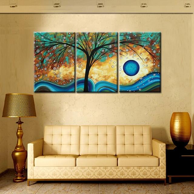 3Panel HD Print Abstract Tree Creativity Blue Sunset Oil Painting on ...