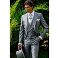 Men's suits formal occasions light grey handsome groom wedding dress men tuxedo high quality custom men's suit